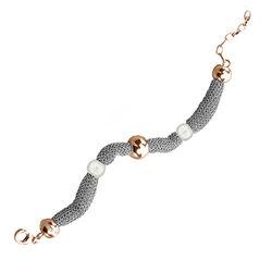 mesh armband roséverguld zilver met parels Adami en Martucci AM214