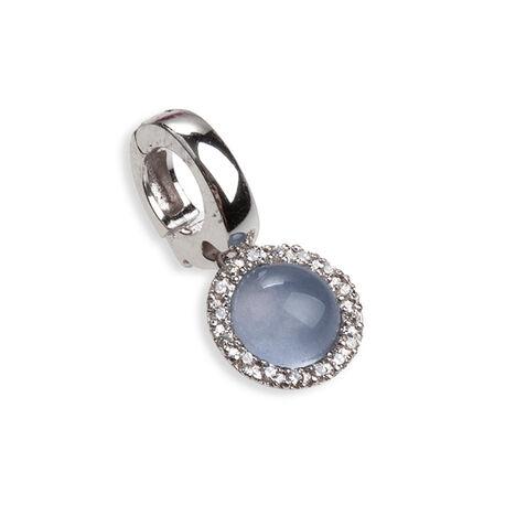 Side Click On charms wit en blauw zirkonia voor bedelarmband