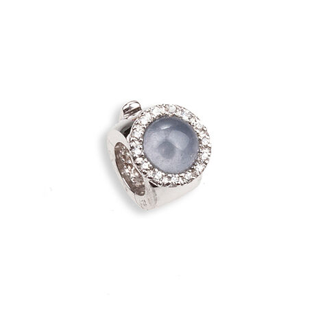 Side Click On charms zirkonia blauw