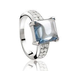 Zilveren ring met lichtblauw zirkonia van zinzi