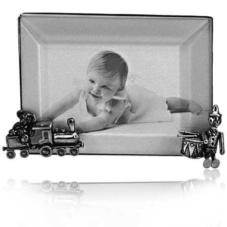 Zilveren kinderfotolijstje met speelgoed 12x9