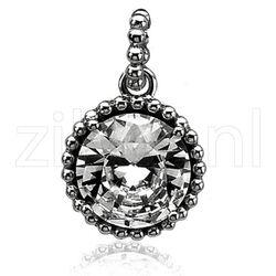 Zilver hanger grote zirkonia bolletjesrand zih842 Zinzi