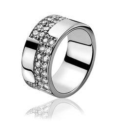 Zilver ring met twee banen zirkonia zir532 ZInzi