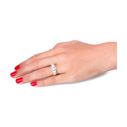 Gouden en platina ring met diamant en parel