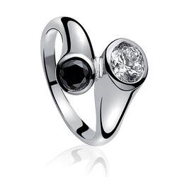 Zinzi Ring Zwart Wit Zirkonia Zir505
