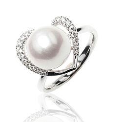 Witgouden ring briljant parel hartvorm