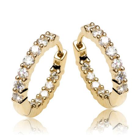 Gouden oorringen creolen met 24 briljanten