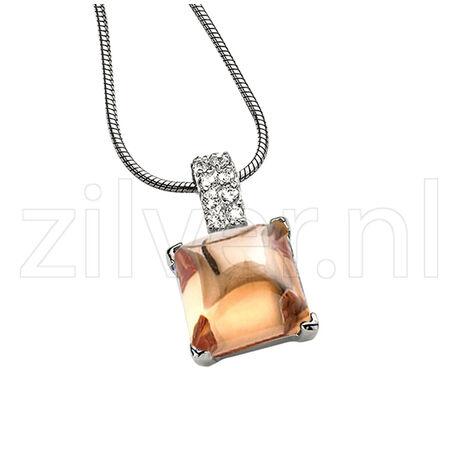 vierkante hanger champagne zirkonia zir265C Zinzi