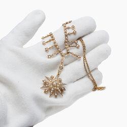 Gouden ketting ster hanger met parels
