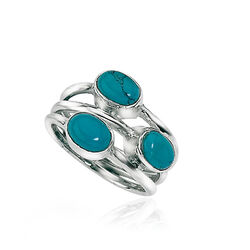 Elements zilveren ring turkoois met 3 banden, mooie ring met turkoois