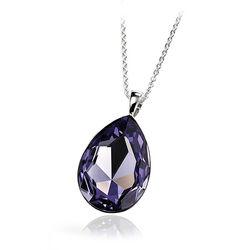 Zilveren Hanger Paars Swarovski Crystal