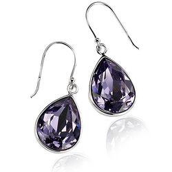Zilveren Oorhangers Paars Swarovski Crystal