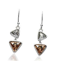 Elements oorhangers Wit Bruin Swarovski Crystal