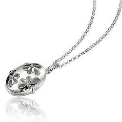 Zilveren Medaillon Bloempatroon