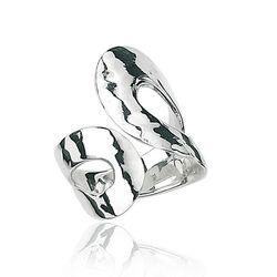 Gehamerde zilveren ring lus