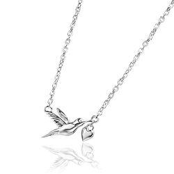 Zilveren ketting met duif en hartje