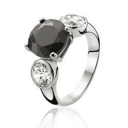 Zilveren ring grote zwarte zirkonia zir462