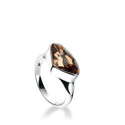 Zilveren ring Swarovski crystal bruin