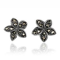 Elements zilveren oorstekers bloemvorm markasiet