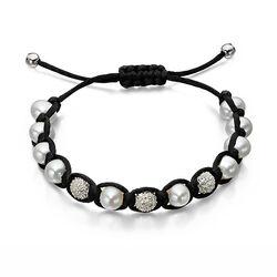 Shamballa armband zwart met parels
