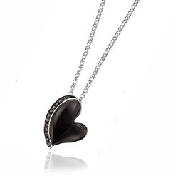 Zilveren hanger hart zwart onyx en zirkonia