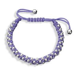 Gevlochten armband zilveren bolletjes paars