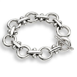 Zilveren fantasieschakel armband