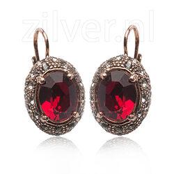 Roséverguld zilver oorhangers rood strass