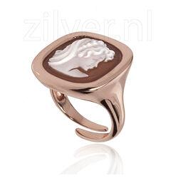 Rosé vergulde ring Diluca met camee damesprofiel