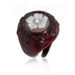 Diluca Ring Camee Rood Emaille Zirkonia