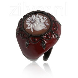 Diluca ring camee rood emaille en zirkonia