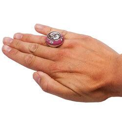 Zilveren ring camee met roze emaille Diluca