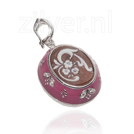 Zilver hanger camee roze emaille Diluca Cameo Italiano