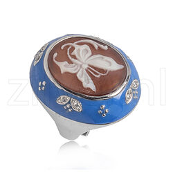 Diluca Ring Camee Blauw Emaille