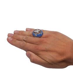 Diluca ring blauw emaille met camee vlinder
