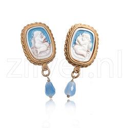 Verguld zilveren oorbellen camee engel Diluca