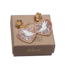 Vergulde oorbellen camee hart van Diluca