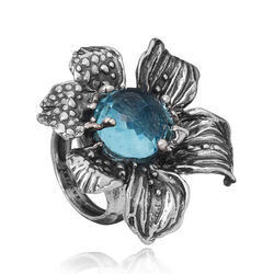 Raspini grote ring Orchidee blauw zirkonia