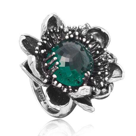 Zilveren ring groen zirkonia in Waterlelie Raspini