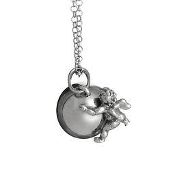 Zilveren hanger balletje engel met collier Raspini