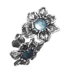 Zilver oorbellen Orchidee met blauw zirkonia Raspini