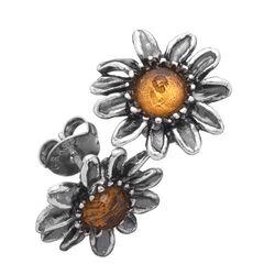 Zilveren oorstekers margrietjes geel zirkonia Giovanni Raspini