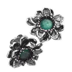 Raspini oorbellen Waterlelie zilver met groen zirkonia