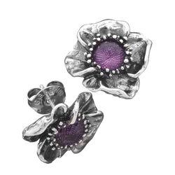 Raspini oorbellen roos met paars zirkonia