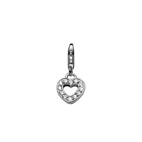 Zilveren charms hart met zirkonia Zinzi