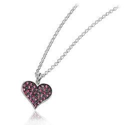 Klein zilver hangertje roze hart