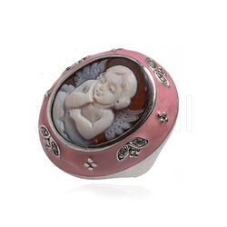Diluca ring roze emaille met camee engel