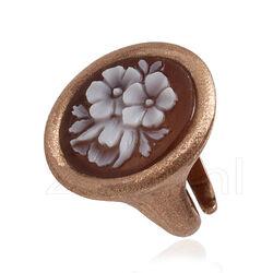 Diluca ring roséverguld mat camee bloem