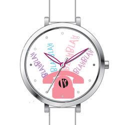 Wit horloge voor meisjes met roze telefoon Elle Girl