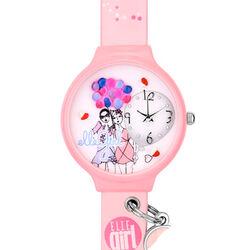 Roze horloge vrolijke meisjes met ballonnen Elle Girl